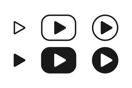 Play buttons vector icons. Play button, isolated. Play buttons in square and circle. Vector illustration