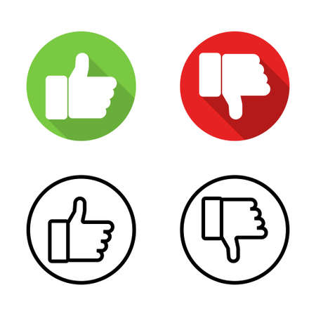 Like icons. Thumb up and down icon. Thumb up and thumb down vector icons. Like symbols. vector illustration Çizim