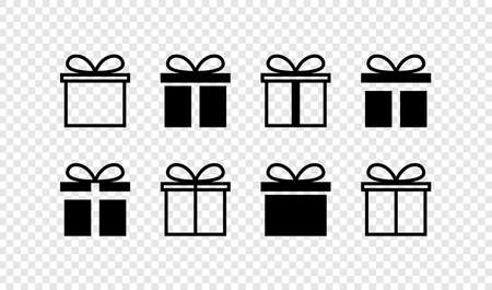Gift box. Gift box with ribbon. Christmas gifts vector icons, isolated. Template surprise in web design. Vector illustration