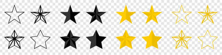 Stars. Stars vector icons. Black stars, isolated. Star vector icons, isolated. Vector illustration Çizim