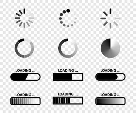 Loading. Load bar vector icons, isolated. Loading icons collection. Vector illustration Çizim