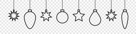 Christmas toys. Christmas toys vector icons. Stars and balls in line design. Vector illustration Çizim