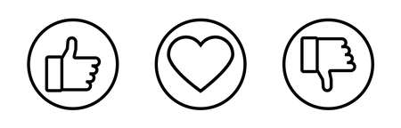 Like. Social vector icons. Heart with like and dislike. Vector illustration