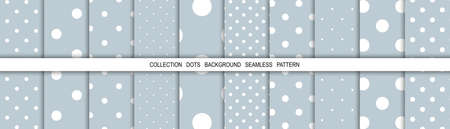 White dots on blue background. Snow circles.Winter patterns. Template background. Polka dots backdrop. Vector illustration. Çizim