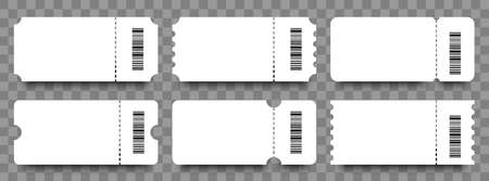 Tickets. Coupons. Blank templates tickets or coupons with barcodes. Ticket or coupon vector icon, isolated. Vector illustration