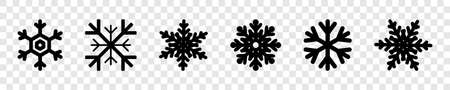 Snowflakes collection. Black snowflakes, isolated. Snowflake vector icons. Six different snowflakes in flat style for web design. Vector illustration