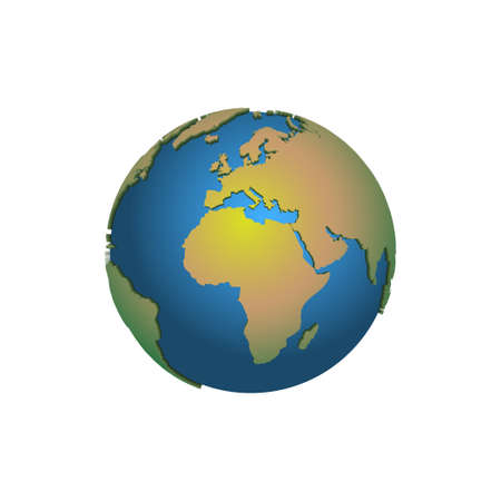 Earth globe. 3D Earth map. World map. Planet. Vector illustration