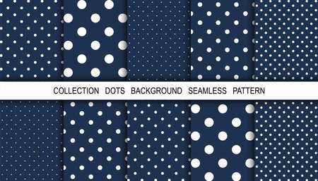 Dots. Dots background. Background pattern. White dot on blue background. Polka design. Winter. Snow. Vector illustration