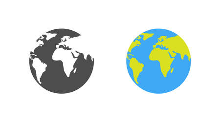 Earth. Template earth globe, isolated. Shape of planet map earth. World vector icon. Vector illustration Çizim