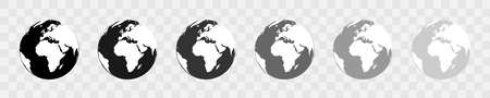 Earth globe vector icons. World map. Earth black icons. World map in simple flat design. Vector illustration