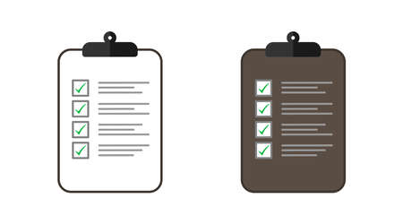 Clipboard with Checklist and check marks. Clipboard and marks in flat design. Vector illustration Çizim