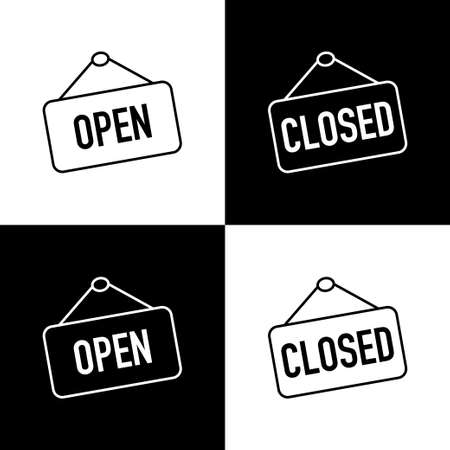 Open and Closed sign boards. Open or Closed sign board, isolated. Open and Closed concept in modern simple flat style for web design. Vector illustration Çizim