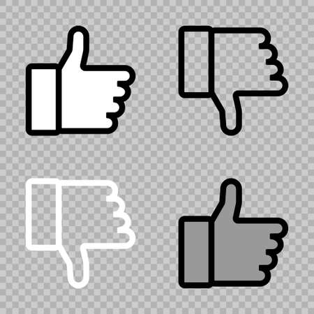 Thumb up and thumb down. Like icons. Thumbs up, isolated. Vector illustration