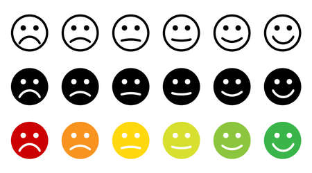 Emoticons. Feedback. Rating scale with smiles representing various emotions. Emoticon different mood. Evaluation of service. Emoji icon positive, neutral and negative. Vector illustration Çizim
