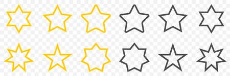 Star. Stars vector icons. Stars in flat line design, isolated. Vector illustration Çizim