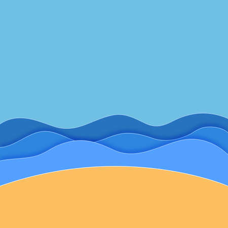 Sea. Sea Waves with blue sky background. Paper art. Travel concept. Summer season. Summer background. Vector illustration
