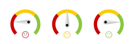 Speedometer icons. Speedometer with emotion. Rating concept. 3 Levels. Vector illustration
