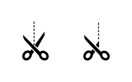 Scissors black vector icons. Scissors with cut lines. Scissors, isolated. Vector illustration