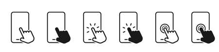 Mobile phone. Smartphone Line Icons. Hand holding smartphone. Hand white touch screen and click on the mobile phone. Mobile phone icons. Vector illustration
