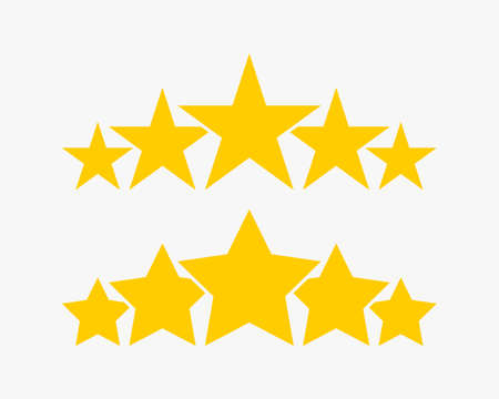 Stars. 5 Stars product quality rating. Gold Star vector icons. Five stars customer feedback concept. Star. Vector illustration