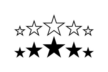 Stars. 5 Stars product quality rating. Black Star vector icons. Five stars customer feedback concept. Star. Vector illustration Illusztráció