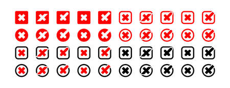 Cross mark. Cross signs vector icons collection. Business icons. Crosses isolated. Vector illustration