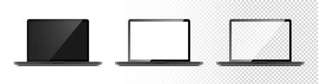 Laptop mockup. Laptop with Black, White and Transparent Screen. Template mockup Laptop in realistic design. Vector illustration
