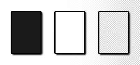 Tablet mockup. Tablet with Black, White and Transparent Screen. Template mockup Tablet in realistic design. Vector illustration