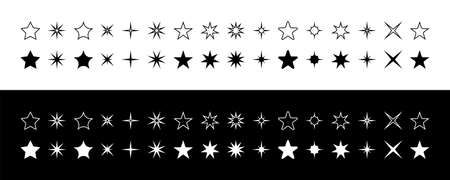 Stars. Star White and Black color. Stars vector icons collection. Star, isolated. Vector illustration
