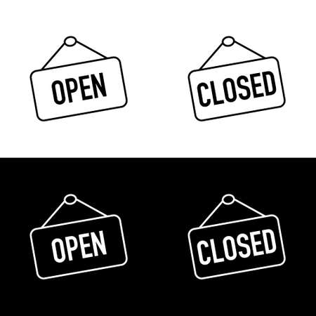 Open and Closed sign boards. Open or Closed sign board, isolated. Open and Closed concept in modern simple flat style for web design. Vector illustration Illusztráció