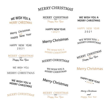 Merry Christmas. Text design. Happy New Year 2021. We wish you a Merry Christmas. Typography collection. Logo, emblem. Text for banner or poster and greeting card. Vector illustration Illusztráció