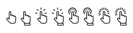 Cursor click collection. Cursor computer mouses, isolated. Clicking cursor vector icons. Pointing hand clicks. Vector illustration