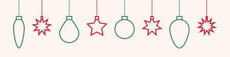 Christmas toys. Christmas garlands vector icons. Xmas. Stars and balls in line design. Vector illustration