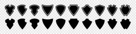 Shield. Shield vector icons set. Black Shields vector icons, isolated. Vector illustration