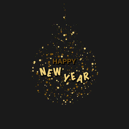 Happy New Year Background. Dark greeting card. Banner or Poster Happy New Year. Christmas ball with confetti and text. Vector illustration Illusztráció