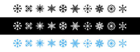 Snowflakes icons. Snowflake template. Snow. New year, winter, christmas, xmas. Whether symbol. Snowflakes vector icons. Vector illustration
