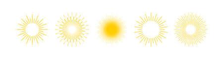Sun. Sun Rays collection. Yellow Sun vector icons. Vector illustration