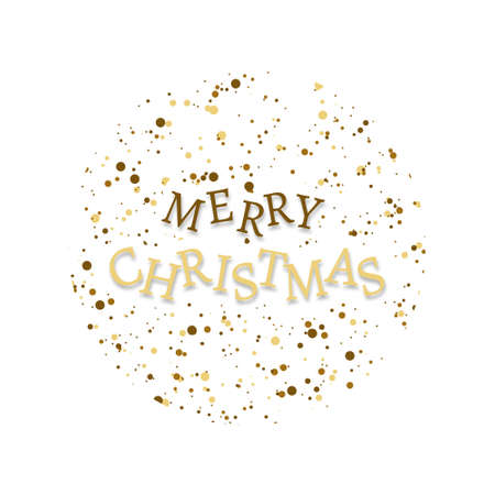 Merry Christmas text. Xmas Lettering design, isolated. Xmas banner poster or greeting card. Vector illustration