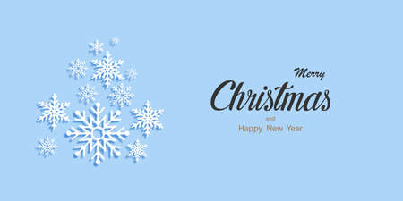 Christmas banner. Xmas Greeting Card. Christmas Poster. Snowflakes with shadow on blue background. Happy New Year. Vector illustration