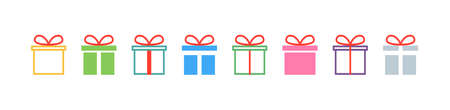 Gift. Gift box collection with ribbons. Christmas gift icons, isolated. Surprise box vector icons in a row. Vector illustration.