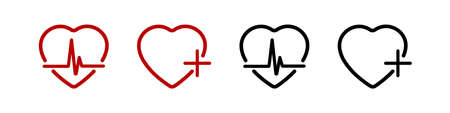 Hearts medicine symbols. Medical health care. Heart in linear design. Hearts black and red color with heartbeat and cross, isolated on white background. Vector illustration