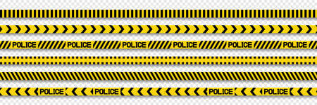 Vector Police stripes border. Black and yellow Line Police. Barricade tape. Caution lines. Vector illustration