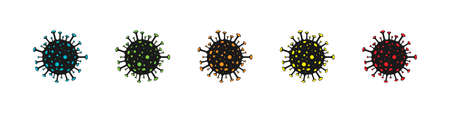 Virus icon. Bacteria cell different color.