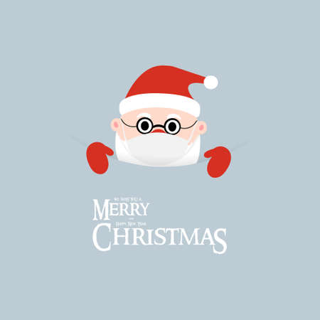 Christmas greeting card. We wish you a Merry Christmas and Happy New Year banner or poster. Santa Claus with mask and text.