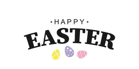 Happy Easter text. Design for holiday greeting card. Poster or banner. Vector illustration Фото со стока - 163297591