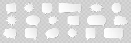 Speech bubbles. Empty white paper speech bubbles, isolated on transparent background. Vector illustration