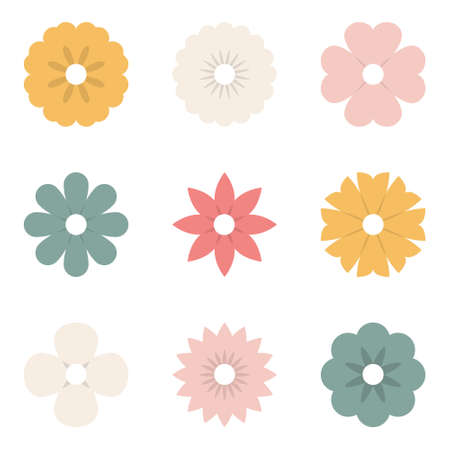 Flower icons. Spring flowers. Floral collection pastel color. Vector illustration