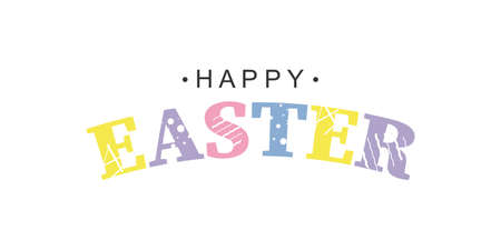 Happy Easter colorful text for greeting card. Vector illustration