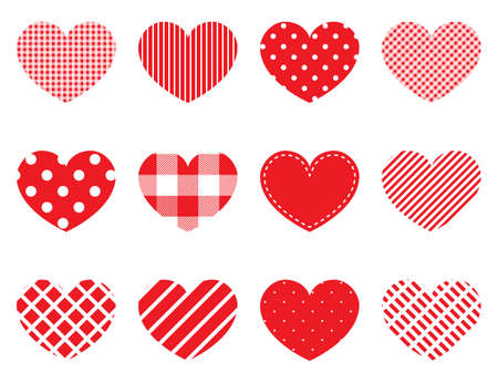 Hearts with different patterns. Red hearts. Love concept. Valentine icons. Valentines day. Vector illustration Иллюстрация