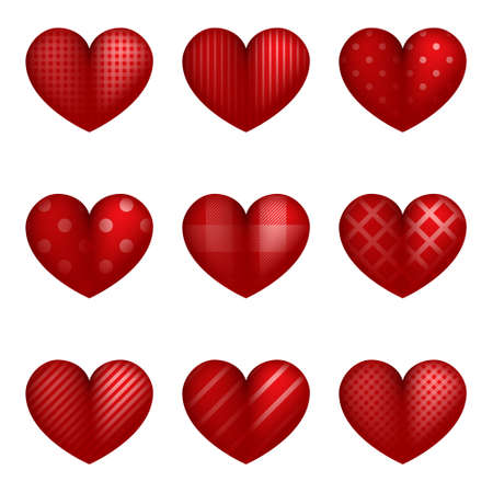 Red Hearts. Valentine Hearts concept. Love. Valentines day. Realistic red Heart with different picture. Vector illustration